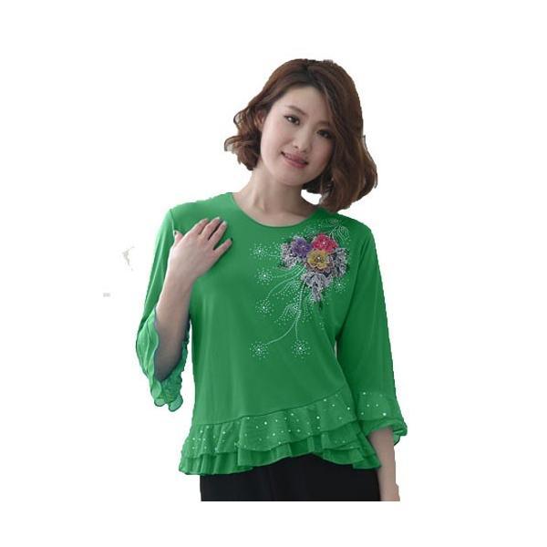 社交ダンス コーラス衣装 コーラスブラウス 豪華な刺繍 ジルコン柄が華やかに上品なデザイン裾と袖に貼りスパンコール|wing12|04