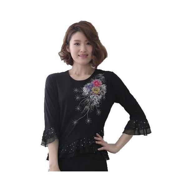 社交ダンス コーラス衣装 コーラスブラウス 豪華な刺繍 ジルコン柄が華やかに上品なデザイン裾と袖に貼りスパンコール|wing12|05