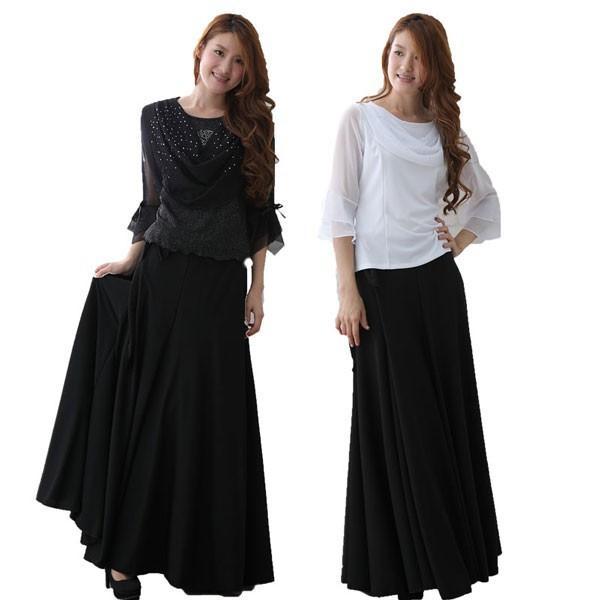 コーラス衣装や発表会衣装に柔らかくほんの少し光沢のある巻きロングスカート。ウエスト:65cm〜72cm前後 黒内側に2箇所鍵ホック付き。黒|wing12|03