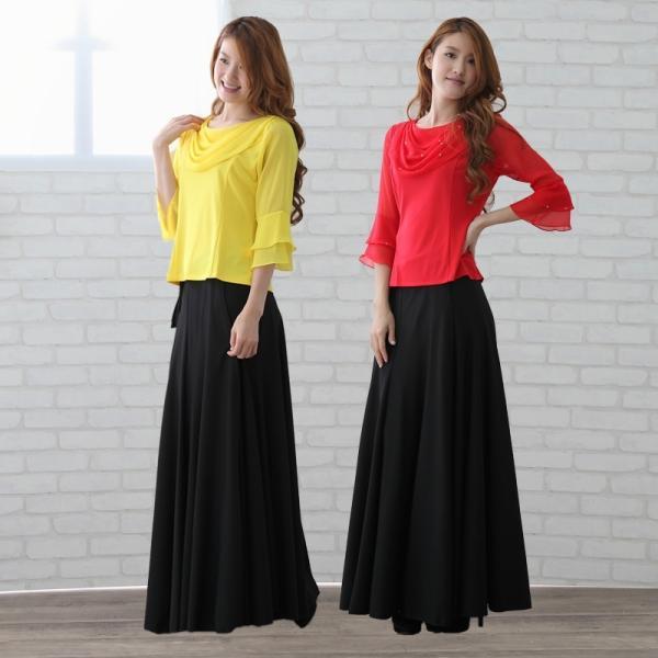 コーラス衣装や発表会衣装に柔らかくほんの少し光沢のある巻きロングスカート。ウエスト:65cm〜72cm前後 黒内側に2箇所鍵ホック付き。黒|wing12|04