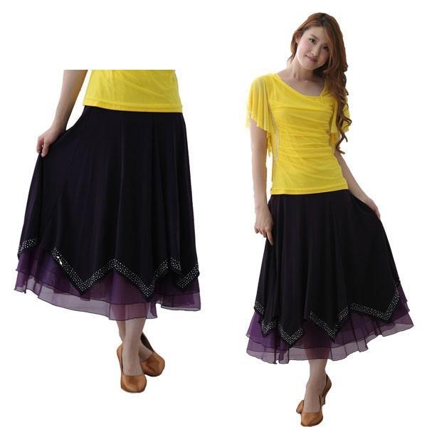 社交ダンス ダンススカート レディース ダンスウェア 衣装 MからLサイズ 紫 ジルコンシルバー|wing12