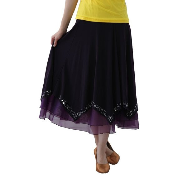 社交ダンス ダンススカート レディース ダンスウェア 衣装 MからLサイズ 紫 ジルコンシルバー|wing12|02