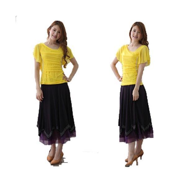 社交ダンス ダンススカート レディース ダンスウェア 衣装 MからLサイズ 紫 ジルコンシルバー|wing12|03