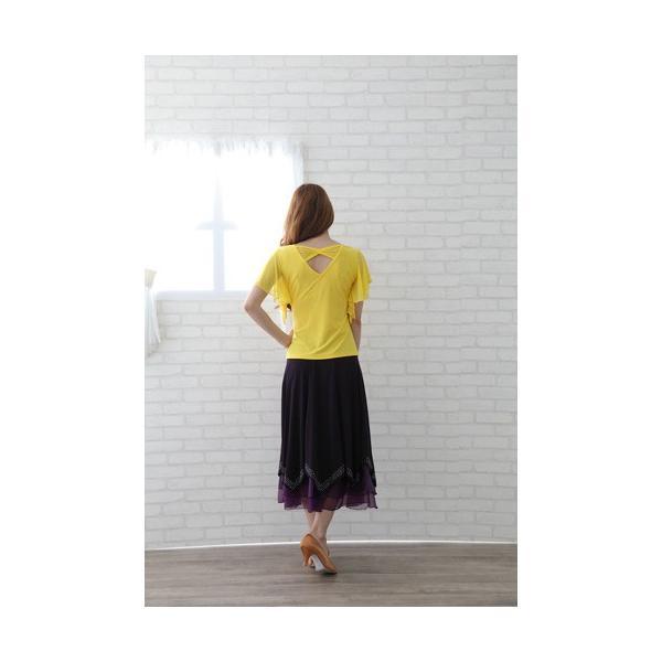 社交ダンス ダンススカート レディース ダンスウェア 衣装 MからLサイズ 紫 ジルコンシルバー|wing12|04