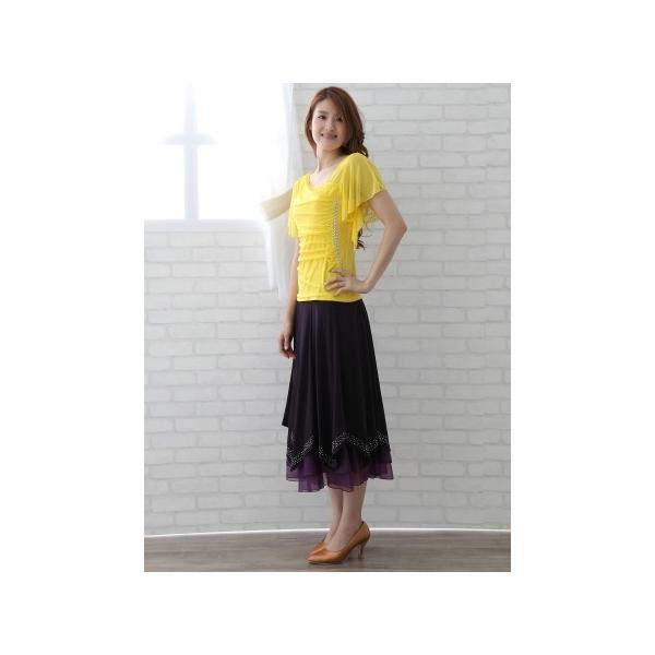 社交ダンス ダンススカート レディース ダンスウェア 衣装 MからLサイズ 紫 ジルコンシルバー|wing12|05
