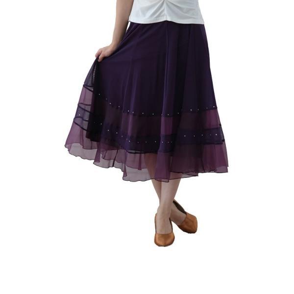 社交ダンス ダンススカート レディース ダンスウェア 衣装 MからLサイズ 紫|wing12|02