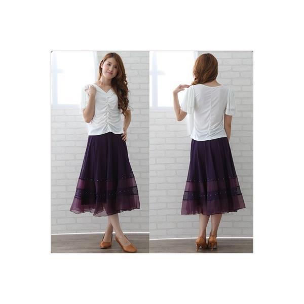 社交ダンス ダンススカート レディース ダンスウェア 衣装 MからLサイズ 紫|wing12|03