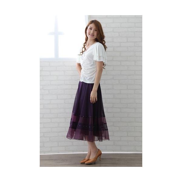 社交ダンス ダンススカート レディース ダンスウェア 衣装 MからLサイズ 紫|wing12|05