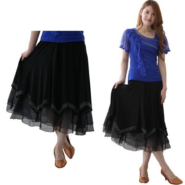 社交ダンス ダンススカート レディース ダンスウェア 衣装 MからLサイズ 黒 ジルコン シルバー |wing12