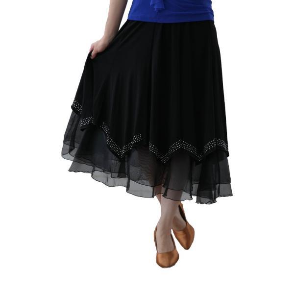 社交ダンス ダンススカート レディース ダンスウェア 衣装 MからLサイズ 黒 ジルコン シルバー |wing12|02