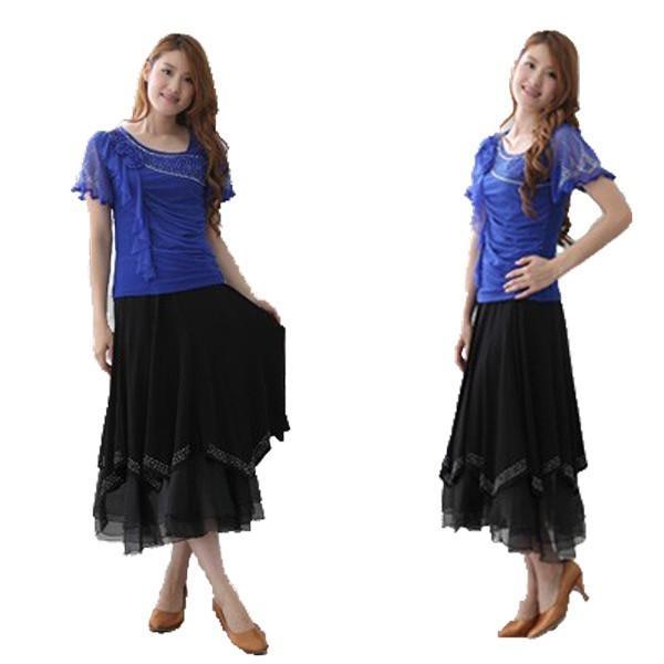 社交ダンス ダンススカート レディース ダンスウェア 衣装 MからLサイズ 黒 ジルコン シルバー |wing12|03