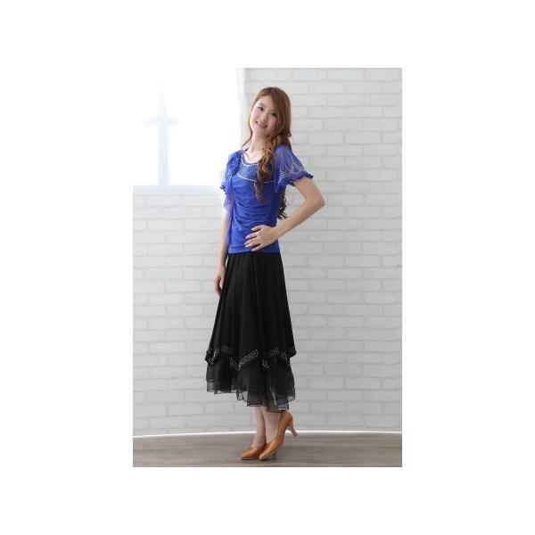 社交ダンス ダンススカート レディース ダンスウェア 衣装 MからLサイズ 黒 ジルコン シルバー |wing12|04