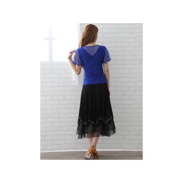 社交ダンス ダンススカート レディース ダンスウェア 衣装 MからLサイズ 黒 ジルコン シルバー |wing12|05