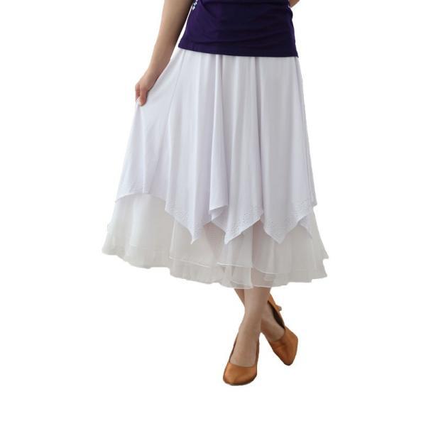 社交ダンス ダンススカート レディース ダンスウェア 衣装 Mサイズ Lサイズ 白 ジルコンシルバー|wing12|02