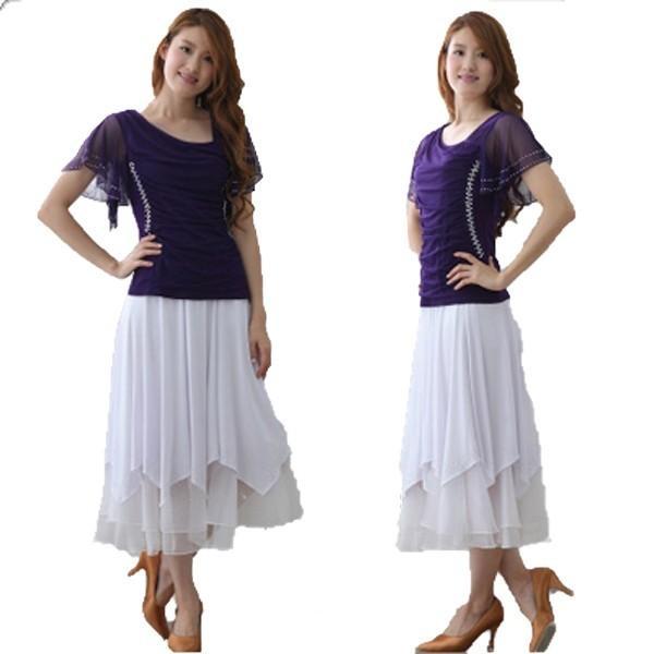 社交ダンス ダンススカート レディース ダンスウェア 衣装 Mサイズ Lサイズ 白 ジルコンシルバー|wing12|03