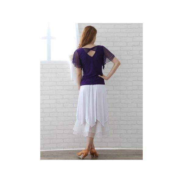 社交ダンス ダンススカート レディース ダンスウェア 衣装 Mサイズ Lサイズ 白 ジルコンシルバー|wing12|04