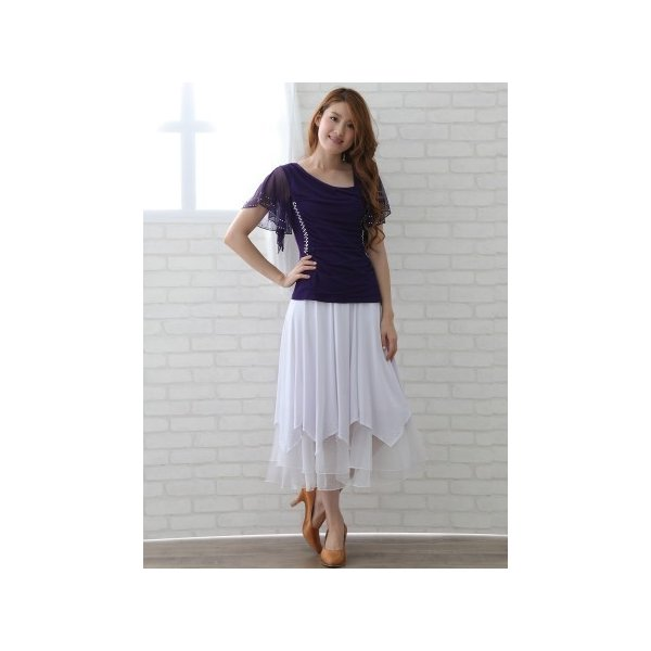 社交ダンス ダンススカート レディース ダンスウェア 衣装 Mサイズ Lサイズ 白 ジルコンシルバー|wing12|05