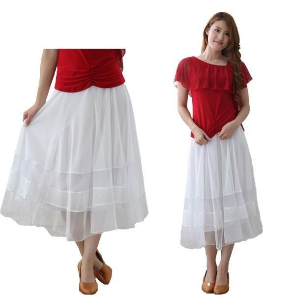 社交ダンス ダンススカート レディース ダンスウェア 衣装 MからLサイズ 白|wing12