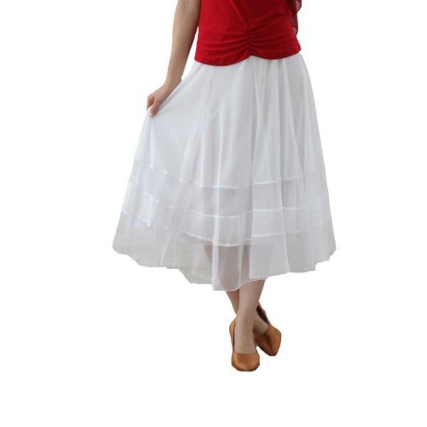 社交ダンス ダンススカート レディース ダンスウェア 衣装 MからLサイズ 白|wing12|02