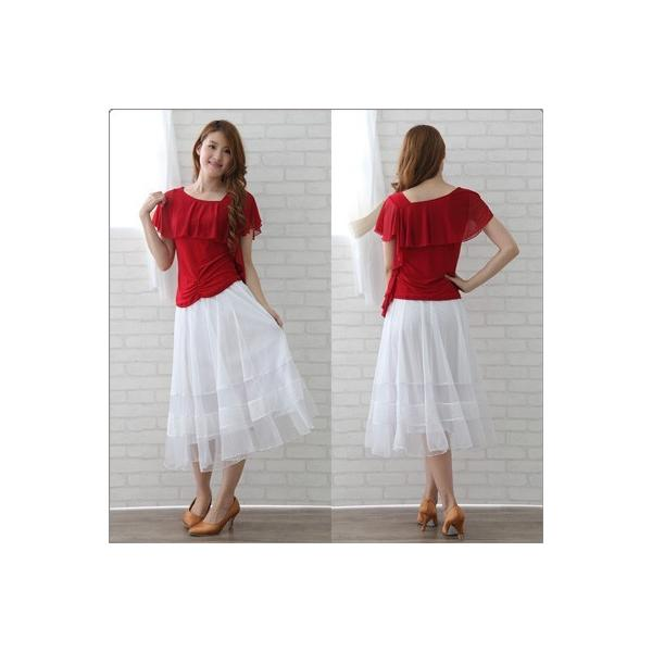 社交ダンス ダンススカート レディース ダンスウェア 衣装 MからLサイズ 白|wing12|03