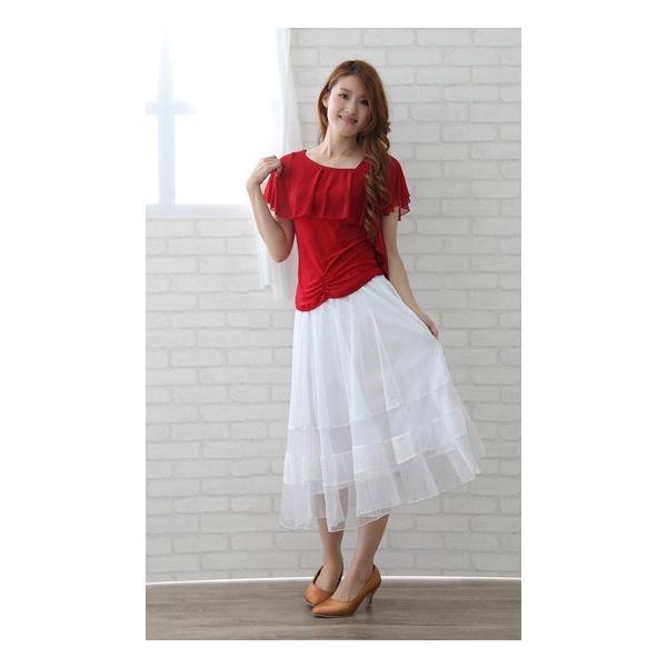社交ダンス ダンススカート レディース ダンスウェア 衣装 MからLサイズ 白|wing12|05