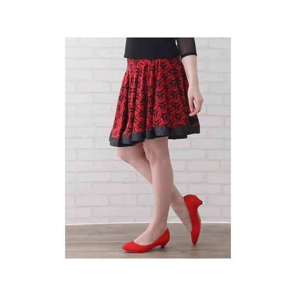 社交ダンス ダンス コーラス 衣装 カラオケ 演奏会 スカート レディース ダンスウェア Mサイズから Lサイズ すそリボンテープが可愛ダンススカート 赤黒|wing12|05
