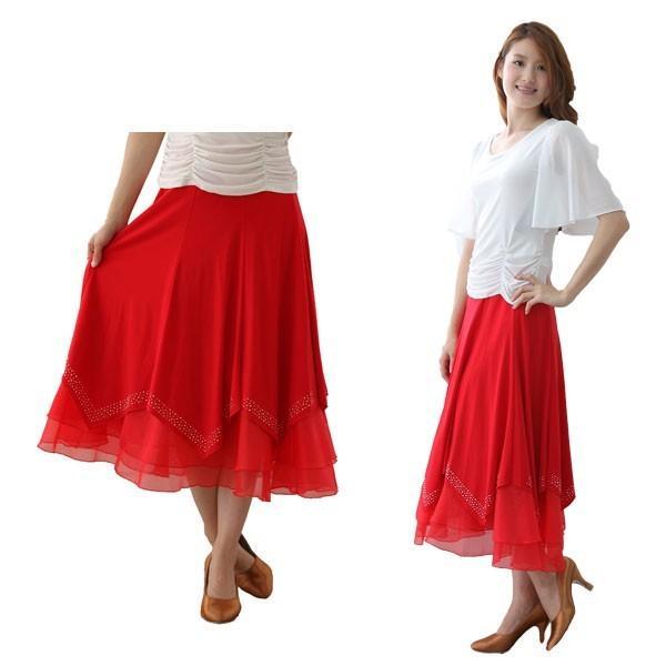 社交ダンス ダンススカート レディース ダンスウェア 衣装 Mサイズ Lサイズ 赤 ジルコンシルバー |wing12
