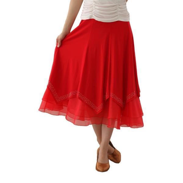 社交ダンス ダンススカート レディース ダンスウェア 衣装 Mサイズ Lサイズ 赤 ジルコンシルバー |wing12|02