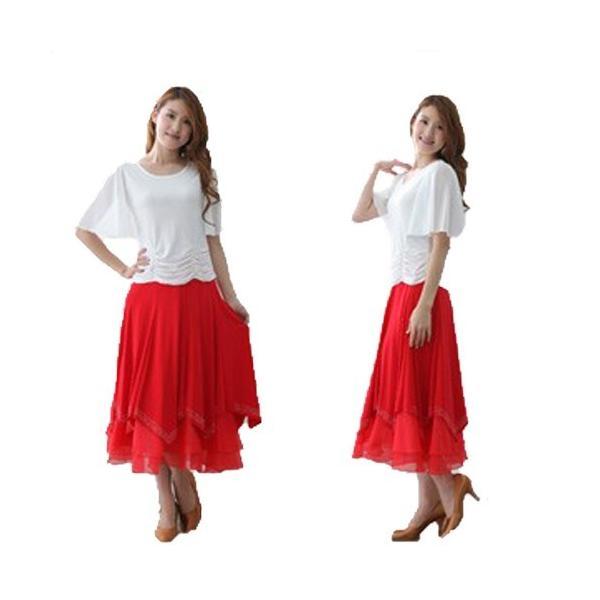 社交ダンス ダンススカート レディース ダンスウェア 衣装 Mサイズ Lサイズ 赤 ジルコンシルバー |wing12|03