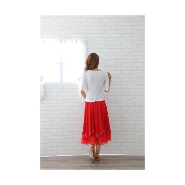 社交ダンス ダンススカート レディース ダンスウェア 衣装 Mサイズ Lサイズ 赤 ジルコンシルバー |wing12|04