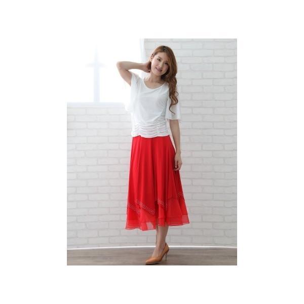 社交ダンス ダンススカート レディース ダンスウェア 衣装 Mサイズ Lサイズ 赤 ジルコンシルバー |wing12|05
