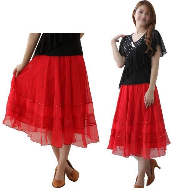 社交ダンス ダンススカート レディース ダンスウェア 衣装 MからLサイズ 赤|wing12