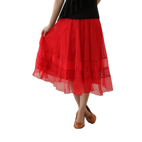 社交ダンス ダンススカート レディース ダンスウェア 衣装 MからLサイズ 赤|wing12|02