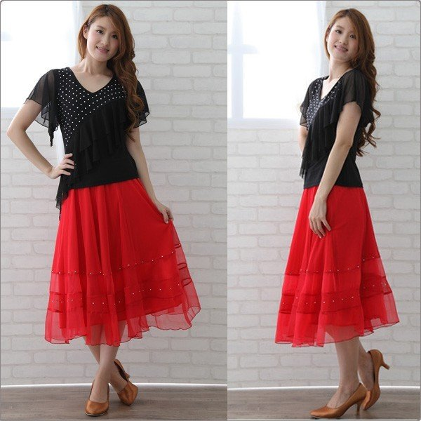 社交ダンス ダンススカート レディース ダンスウェア 衣装 MからLサイズ 赤|wing12|03