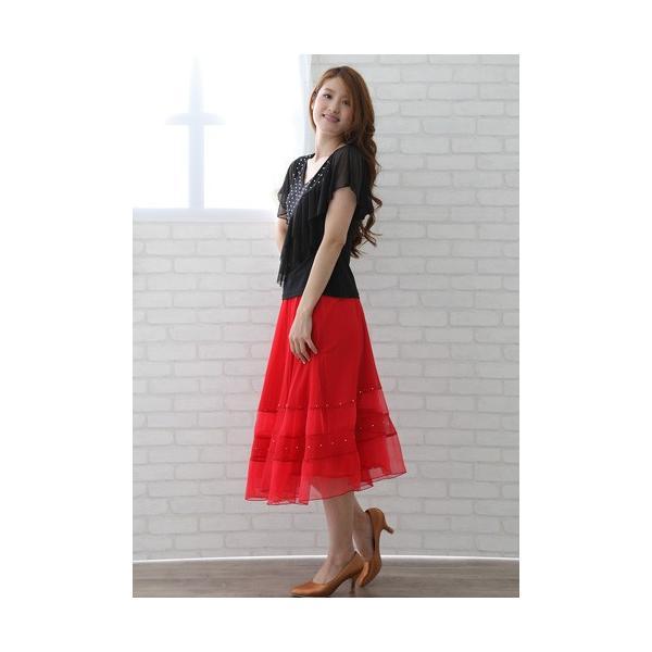社交ダンス ダンススカート レディース ダンスウェア 衣装 MからLサイズ 赤|wing12|04