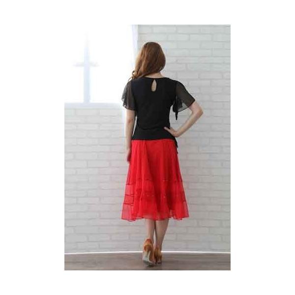 社交ダンス ダンススカート レディース ダンスウェア 衣装 MからLサイズ 赤|wing12|05
