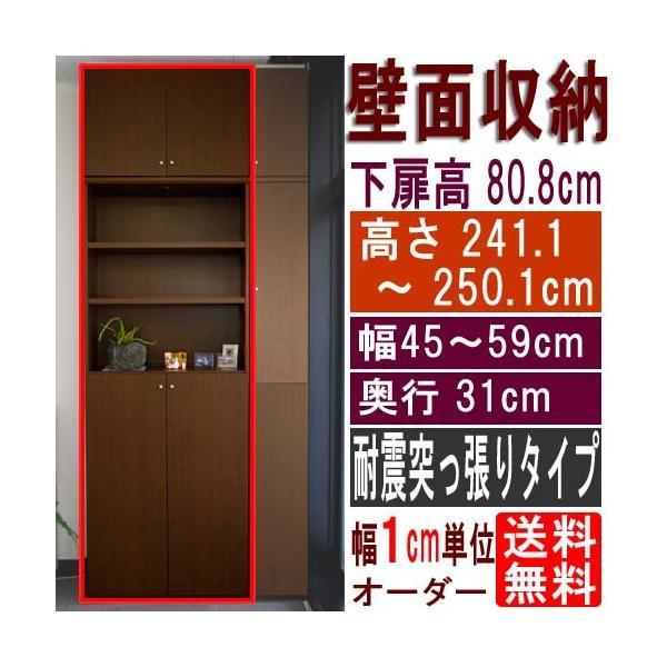 大容量収納 壁収納 高さ241.1〜250.1cm幅45〜59cm奥行31cm 下扉高さ80.8cm