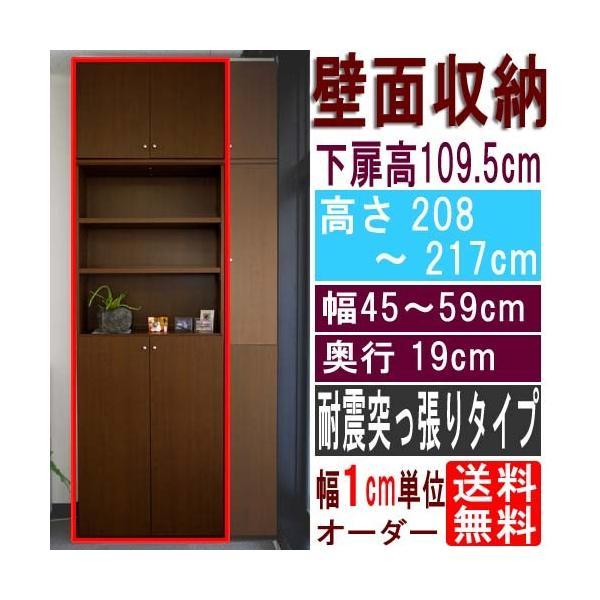 薄型壁面戸棚 収納棚 高さ208〜217cm幅45〜59cm奥行19cm厚棚板(耐荷重30Kg) 下扉高さ109.5cm