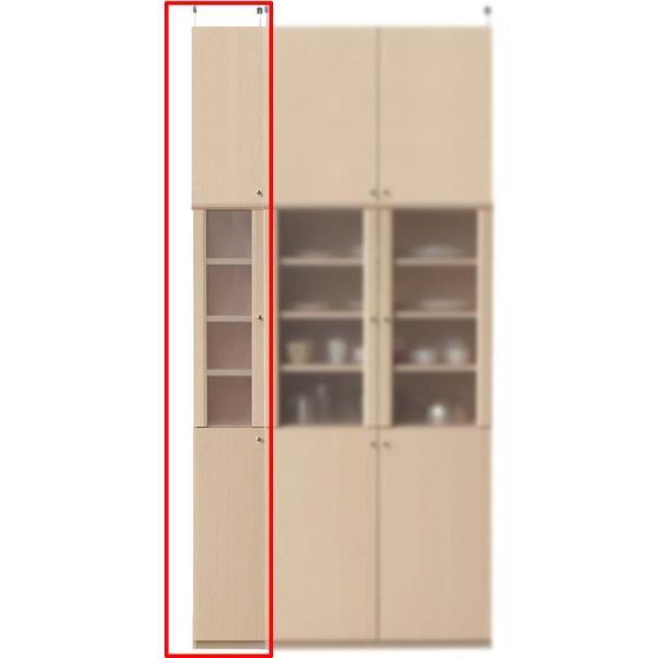 半透明扉付木製キッチン家具 北欧風食器棚 高さ250〜259cm幅25〜29cm奥行40cm厚棚板(耐荷重30Kg)