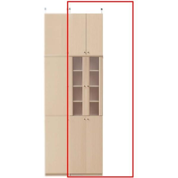 半透明扉付カップボード キッチン収納 高さ241〜250cm幅45〜59cm奥行19cm