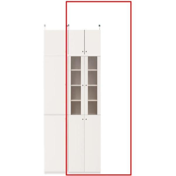 突っ張り式木製食器棚 キッチン収納 高さ217〜226cm幅45〜59cm奥行31cm