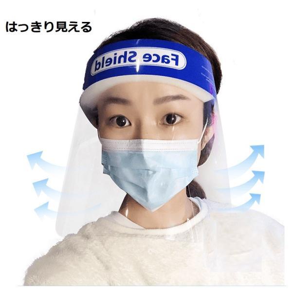 フェイスシールド 10枚セット フェイスガード フェイスカバー 飛沫対策 ウイルス対策 花粉対策 透明シールド 防塵 保護マスク 調整可能 男女兼用(faceshield10) wingchokuei 02