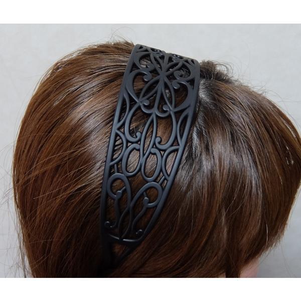 透かし編みカチューシャ 5cm 透かしレース模様 幅広 ヘアバンド アラベスクレース|wink-yafuu-store|11