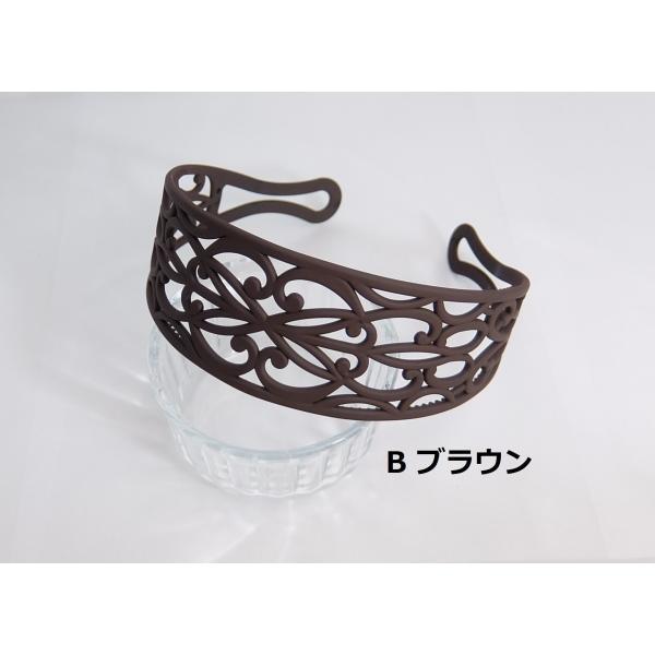 透かし編みカチューシャ 5cm 透かしレース模様 幅広 ヘアバンド アラベスクレース|wink-yafuu-store|03