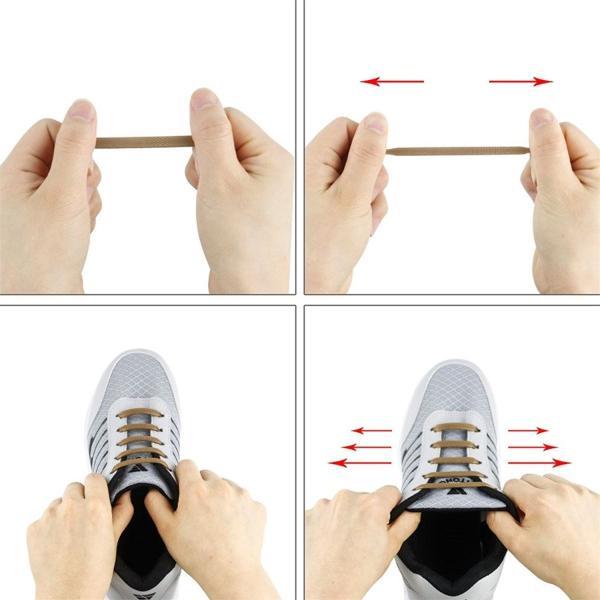 Hitstar 靴紐 結ばない ゴム 靴ひも シリコン シューレース 伸縮性 ほどけない スニーカー紐 黒 白 グレー 青 ブラウン (ブル
