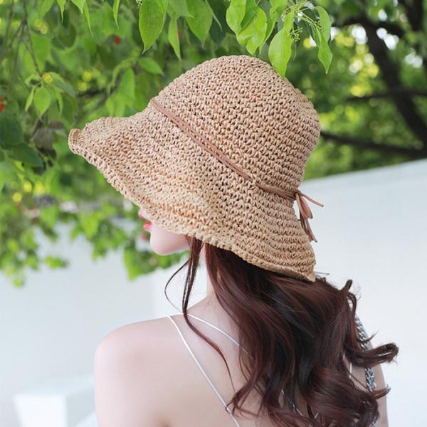 帽子 夏 レディース uvカット コマ編み キャペリン 麦わら 大人かわいい 折りたたみ つば広 中折れ帽 ハット 調節可能 小顔効果 おしゃれ|withbambistore|18