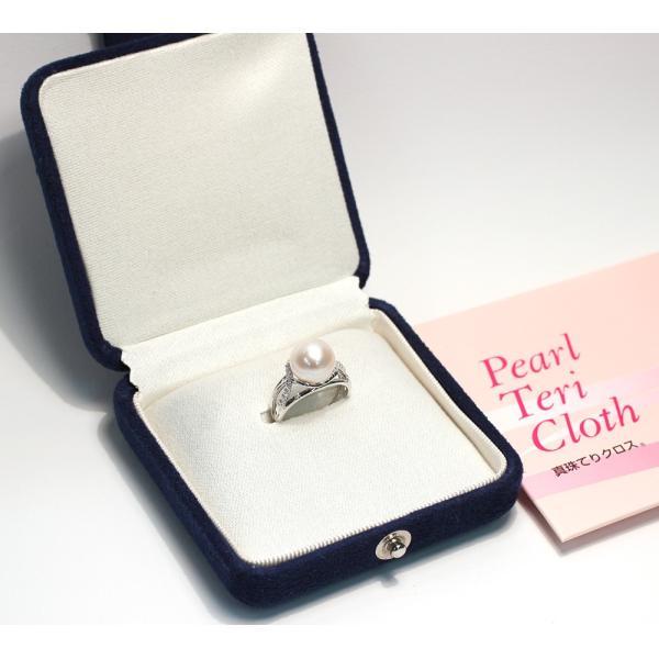 パール指輪 アコヤ真珠10.5mmプラチナリング サイズ12 高機能ケース入り 幅がしっかりあるデザイン 冠婚葬祭|wizem|05