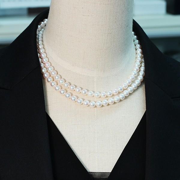 パールネックレスロング アコヤ真珠7-7.5mmネックレス2本分82.5cmロング1連や2連としても使用|wizem|06
