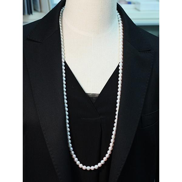 パールネックレスロング アコヤ真珠7-7.5mmネックレス2本分82.5cmロング1連や2連としても使用|wizem|07