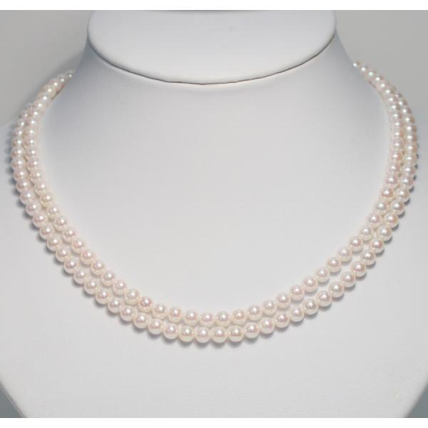 パール2連ネックレス アコヤ真珠5-5.5mm SV ピンク系ホワイト色 2連 チョーカー パーティー|wizem